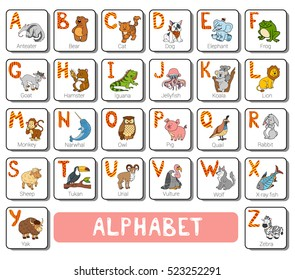 Vector color zoo alphabet with cute animals on white background. Square card with animals and letters A-Z