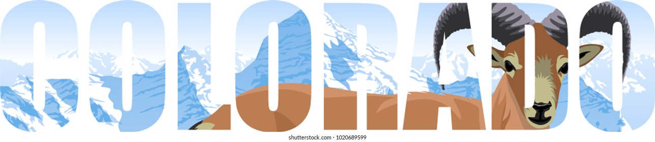 vector Colorado - American state word with bighorn sheep and mountains