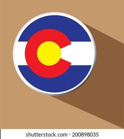 Vector - Colorado flag button icon with long shadow