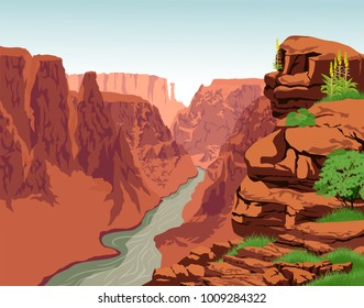 Vector Colorado river in Grand Canyon National Park