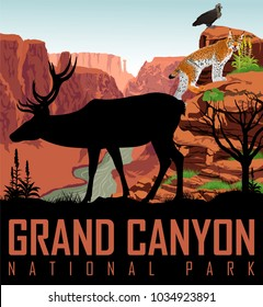 Vector Colorado river in Grand Canyon National Park with deer, eagle and lynx