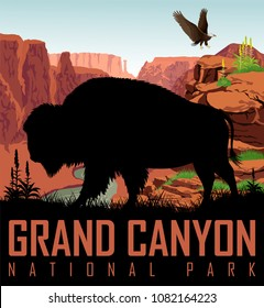 Vector Colorado river in Grand Canyon National Park with buffalo bison and bald eagle