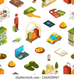 Vector colored 3d isometric hotel icons set pattern or background illustration