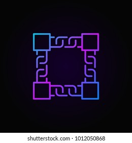 Vector colored block chain technology icon or symbol in thin line style on dark background