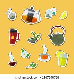 Vector colored cartoon tea kettles and cups stickers of set illustration