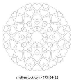 vector colored circular round loving cute mandala with hearts - adult coloring book page