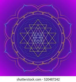 vector colored design mandala sacred geometry illustration Sri yantra lotus isolated dark background