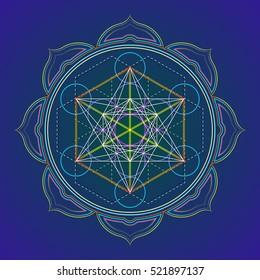 vector colored design mandala sacred geometry illustration Metatron's cube yantra lotus isolated dark background