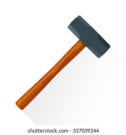 vector colored flat design house remodel construction sledgehammer wooden textured handle illustration isolated white background long shadow