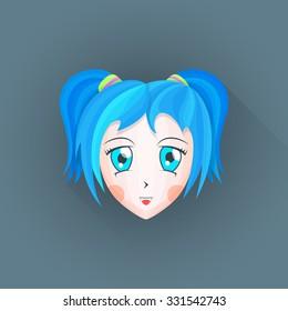 vector colored flat design japanese anime manga girl face big blue eyes cyan hair illustration isolated dark background long shadow