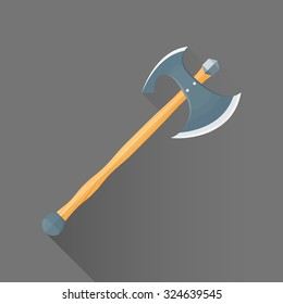 vector colored flat design metal sharp double blade battle axe wood handle isolated illustration gray background long shadow
