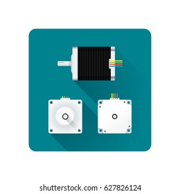 vector colored flat design stepper electric motor different angles illustration icon long shadow rounded square background