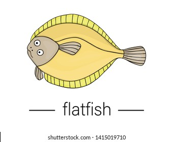 Vector colored flatfish. Cartoon style sea fish icon. Underwater illustration