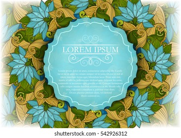 Vector Colored Floral Template with Place for Text. Abstract Flowers with Hand Drawn Ornament. Layout for Greeting Card, Cover Page etc. Clipping Mask Used for Editability