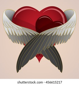 Vector colored heart with wings lovingly hugging heart