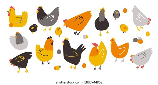 Vector colored hens, chickens and hen eggs. Doodle illustration isolated on white background. Set of birds for Easter, decor, invitation, cards