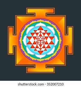 vector colored hinduism Sri yantra Sri Chakra illustration triangles diagram isolated on black background