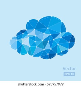 vector colored illustration of blue polygonal cloud