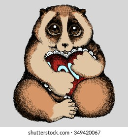 Vector colored illustration of Slow loris with a heart. Hand drawn by ink. Isolated illustration on gray background.