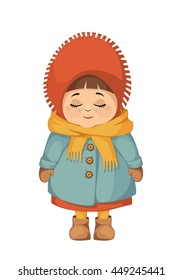 Vector colored illustration smiling cute little girl with closed eyes in warm winter clothes on white background 3.1