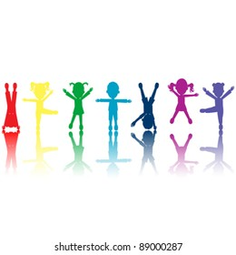 vector of colored kids silhouettes over white background