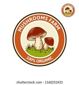 Vector colored Logo with Porcini mushroom (Cep, King Bolete, Boletus edulus) on forest glade. Organic, bio food style. Design element, icon, emblem and badge isolated on white background
