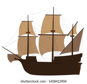 Vector colored minimal Caravel ship illustration