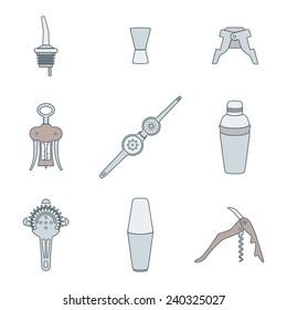 vector colored outline barman equipment icons set tools pour spout, jigger, plug, winged corkscrew, wine opener, squeezer, shaker, cocktail strainer