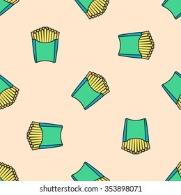 vector colored outline french fries potato green pack seamless pattern on light red background