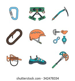vector colored outline various climbing gear carabiner harness helmet rope shoes belay cam bolt hanger hold descender pulley ice axe icons set white background