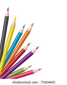 vector colored pencils / crayons. set of pencils / crayons isolated on white background.
