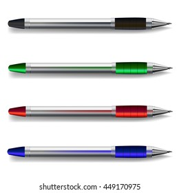 VECTOR colored pens set: black, green, red, blue.