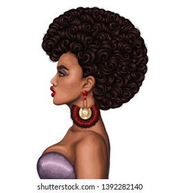Vector colored portrait of a African girl with magnificent curly afro hairstyle in retro style. Fashion model in profile with gold earrings with red tassels. Isolated on white background
