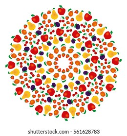 vector colored round summer fruity mandala - adult coloring book page