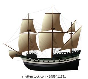 Vector colored sailing ship Caravel Illustration