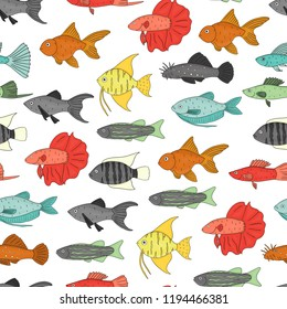 Vector colored seamless pattern of aquarium fish. Repeating background with molly, guppy, platyfish, goldfish, danio, scalare, cichlasoma, ancistrus, gourami. Underwater illustration for pet shops