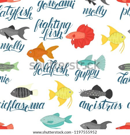 Vector Colored Seamless Pattern Aquarium Fish Stock Vector Royalty