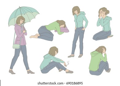 Vector colored set sketch illustration sad girl teen. Young woman in depression crying, pining and sadly smoke. Unhappy in bad mood walking with umbrella under the rain. Outline drawing graphic art