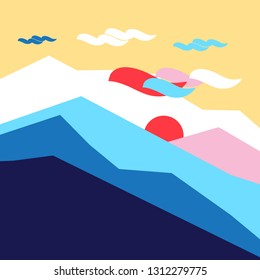 Vector colored silhouettes of mountains and sun landscape. Example for poster or web site design.