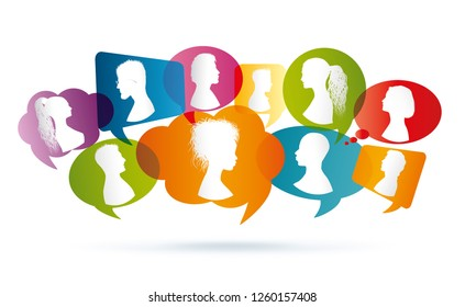 Vector colored Speech bubble. Crowd talking. Group of people talking. Profile silhouette. Communication between people