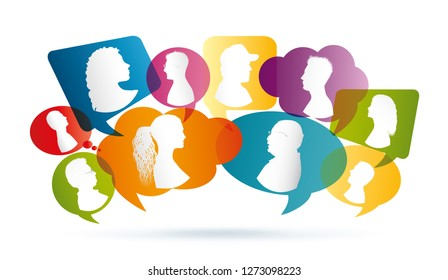 Vector colored Speech bubble. Profile silhouette. Group of people talking. Crowd talking. Communication between people