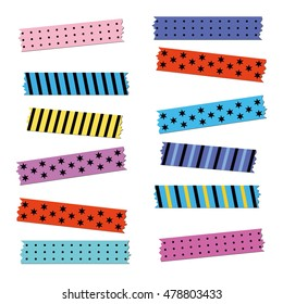 Vector colored strips of adhesive tape. can be used for design, decoration, scrapbooking