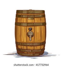 Vector Colored Vintage Illustration of Wooden Barrel for Beer