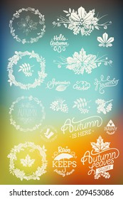Vector colorful abstract background with autumn (fall) design elements featuring decorative floral round frames, dingbats, spacers, signs, badges, titles, month names, lettering and calligraphy pieces