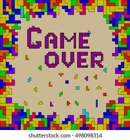 Vector of colorful abstract background made of geometric shapes. Game over. Ideal for room decoration, wrapping, cards, banners, backgrounds.