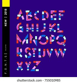 Vector colorful abstract font and alphabet