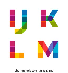 Vector colorful alphabet made of overlapping shapes. Beautiful vivid capital latin letters I J K L M. Ready for poster or artwork design.