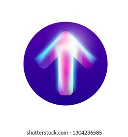 Vector colorful arrow for web and print. Neon light with bright glow. Direction arrow in blue circle. Creavite hi tech modern art. Can be used for landing page and presentation.