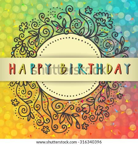 Vector Colorful Artistic Happy Birthday Card Stock Vector Royalty