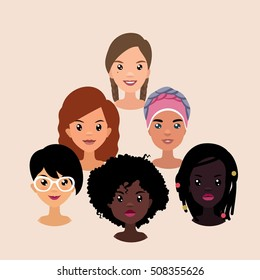 Vector colorful avatar set of different pretty nationality girls